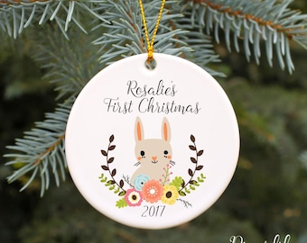 Baby's First Christmas Ornament Baby Girl's 1st Christmas Personalized Christmas Ornament Baby Shower Gift Baby Gift Custom Bunny Ornament