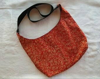 Crossbody Hobo Bag - Red Batik
