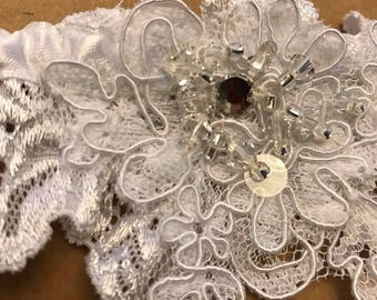 Wedding garter , bridal garter , sométhing blue , white garter