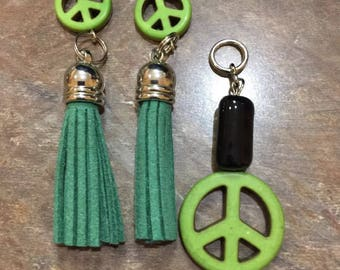 green peace signtassel Dangle Earrings Handmade hypoallergenic and nickel free and slide Big and Bold without the weight !!