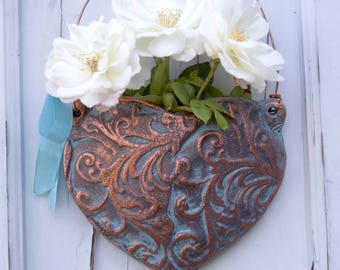 Heart Flower Vase with Antique Bronze Finish (Ready to Send)