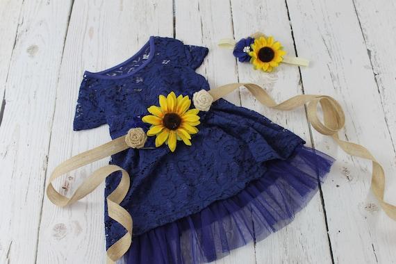 Navy flower girl dress sunflower flower girl dress navy rustic mightylinksfo