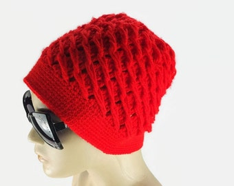 Bright  Red crochet hat with flower, womens knit hat, Fashion winter Hat, Gift For Her