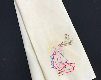 Vintage Off White Muslin Kitchen Dish Towel with Hand Embroidery Girl