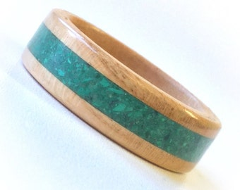Wooden Rings from Wild Cherry with Gemstone Inlay