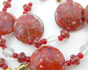 Vintage Venetian Sommerso Glass Disc Beads Necklace - Beautiful Red Glass Beads