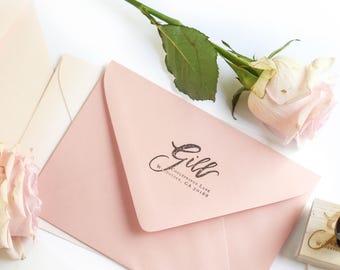 Custom Return Address Stamp / Return Address Stamp / Calligraphy Stamp / Hand Lettered Stamp / Personalized Address Stamp / Custom Stamp