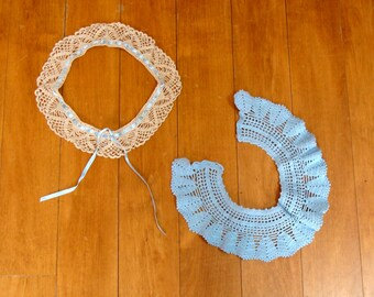 Vintage crochet collars - old handmade dress collar lot