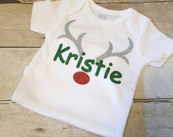 Christmas Outfit, Christmas Bodysuit, Glitter Baby Girl, Christmas Shirt, Girl Christmas Shirt, Personalized Name Holiday Reindeer Shirt
