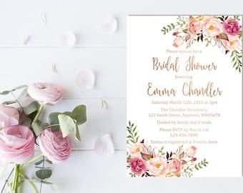 Rose Gold Boho Floral Bridal Shower Invitation, Printable Floral Boho Bridal Shower Invite, Rose Gold Foil Bridal Shower, Download, 110-RG