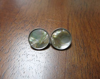 Pair of 1860's Fancy Abalone & Silver Washed Brass Coat Buttons D. Evans Backmarks