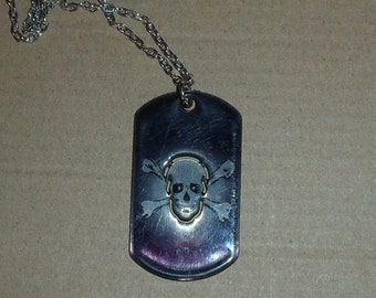 Black Dog tag with skull cut - out