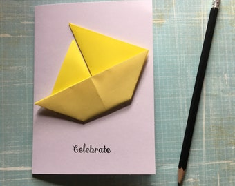 Origami greeting card - yellow sailing boat 'celebrate'
