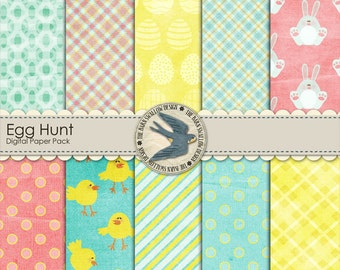 "Digital Scrapbook Paper Pack - Egg Hunt -  10 Shabby textured digital papers 12"" x 12"" For Easter, egg hunts, or Spring - Instant Download"