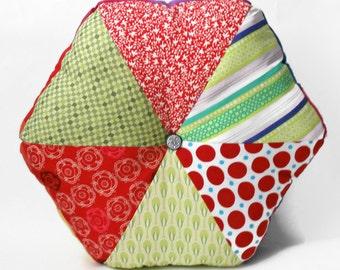 "Green and Red, 16"" Handmade Stuffed Hexagonal Wedge Cushion / For the home / Home Decor / Throw Pillow / Floor Pillow / Modern Pillow"