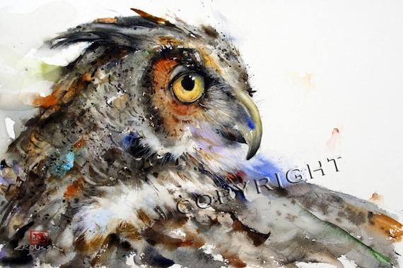 OWL Watercolor Bird Art Print By Dean Crouser