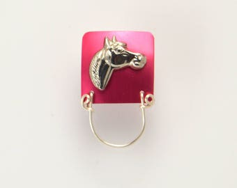 Gold or Silver Horse on Colored Aluminum Magnetic Eyeglass Holder