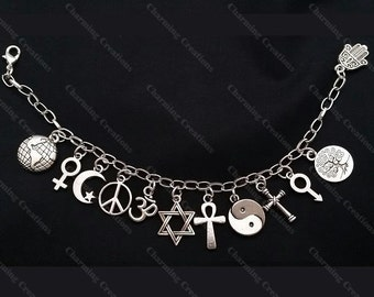 Deluxe COEXIST CHARM BRACELET Silver Tone Chain with Charms to Represent all People Living Together in Harmony, Secured with a Lobster Clasp