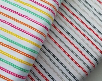 Chains Multi Color-Onyx or Orange Cotton Fabric