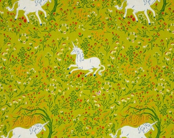 Heather Ross Far Far Away Windham fabrics Unicorn green FQ or more OOP HTF