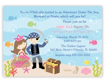 Pirate And Mermaid Birthday Party Invitation  (Digital File)