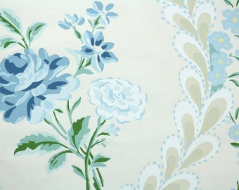 1970s Vintage Wallpaper by the Yard - Floral Wallpaper Maury Paris Hand-print Blue Roses - Candice