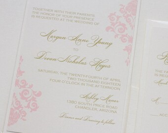Damask Wedding Invitation   Elegant Wedding Invitation   Romantic Invitation   Ivory, Gold, Blush Wedding Invite   Formal   Morgan Sample