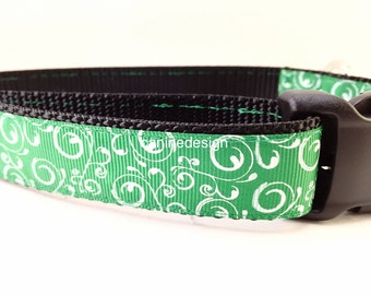 St Patricks Dog Collar, Green Swirl, 1 inch wide, adjustable, quick release, metal buckle, chain, martingale, hybrid, nylon