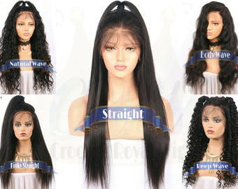 Full Lace Wig 130% DENSITY Select Pattern Select Length Brazilian Human Hair Wig 8-28 in