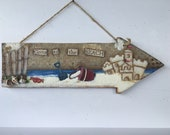 Hand Painted Nautical Wall Hanging       Sandcastle at the Beach      Reclaimed Wooden  Arrow   Mixed Media Surf and Sand