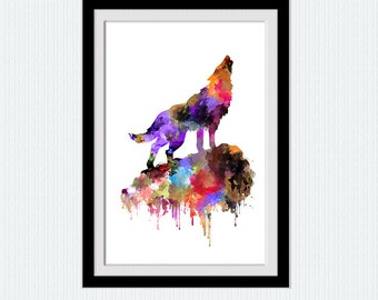 Wolf howling colorful poster Wolf howling watercolor print  Wolf howling illustration Home decoration art  Wolf poster gift  W318