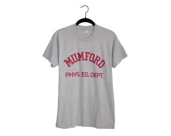 Vintage MUMFORD Phys. Ed. Dept. Beverly Hills Cop Super Soft Thin 50/50 Poly-Cotton Blend Heather Gray T-Shirt, Made in USA - Large