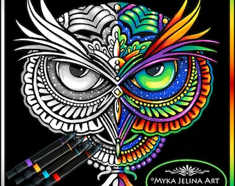 Owleister - Grayscale - Digital Download - Coloring Page - Psychedelic Rainbow Owl - Myka Jelina Art -  Big Eyed - Trippy Hippie