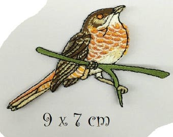 Patch fusible badge - bird branch of tree * 9 x 7 cm * Applique iron-on