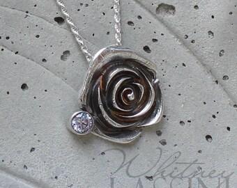 Elisabetta, Rose flower silver metal clay pendant with CZ gemstone, delicate, feminine, lightweight necklace