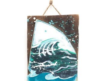 Shark Fin with Ocean Waves-Personalize and Adopt This Original Art Item-Painting OOAK Home Decor Beach Art Shark Fin Wall Art Mangoseed