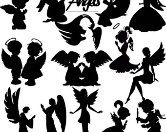 Angles Die Cut  Out Silhouette - Assorted Fairy Cutout x 15 Great for card making, scrapbooking, fairy jar, embellishments, party favours