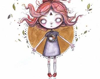 Cute and Creepy Original Artwork, Watercolour Original