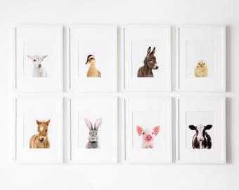 Set of 8 Farm nursery prints, Nursery decor,  Farm Nursery Printable, Farm animals decor, Baby animals, Nursery art Farm Nursery