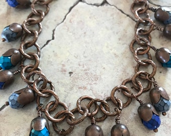 Blue Glass Beads on Copper Chain Necklace