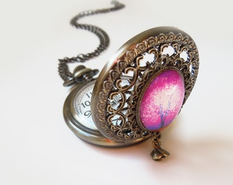 Violet Daze Pocket watch necklace