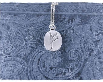 Silver Feoh Rune Necklace - Antique Pewter Feoh Rune Charm on a Delicate Silver Plated Cable Chain or Charm Only