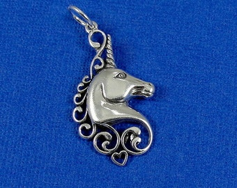 Unicorn Charm - Sterling Silver Unicorn Charm for Necklace or Bracelet