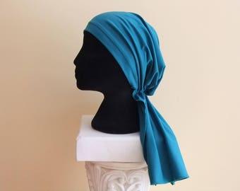 Teal green chemo cap, chemo hat, pre tied headscarf, chemo headwear, headwrap, cancer hat