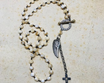 Wing and a Prayer - Mother of Pearl Necklace
