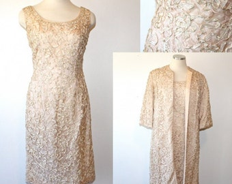 60s 1960s Pink Lace Wiggle Dress Jacket Cocktail Shift S M 4 6 Wedding Valentines Day Mad Men Betty Draper Audrey Spring Summer Fashion