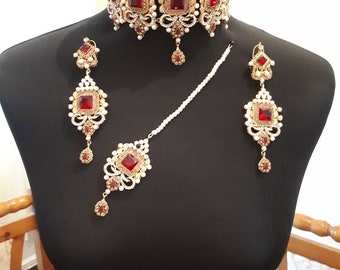 Indian pakistani bridal jewelry set Pakistani choker necklace .