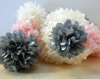 """QTY 8 - 12"""" Blush Pink Tissue Paper Flower Pom CONNECTING PuffScape Puffs for Vertical Garlands"""