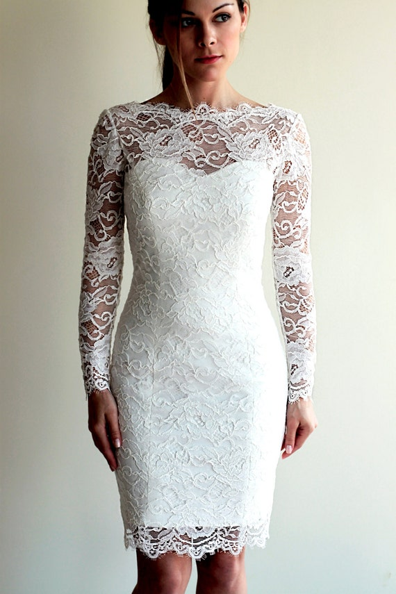 Short Wedding Dress With Sleeves And Illusion Neckline Back Reception Lace See Through