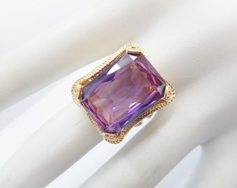 Sapphire Ring, Purple Sapphire Ring, Vintage Gold Ring, Estate Ring, 14k Yellow Gold Huge Created Purple Sapphire Ring Size 7 #198